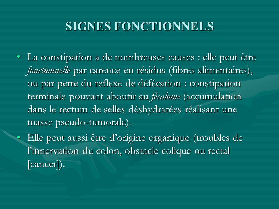 SIGNES FONCTIONNELS La constipation a de nombreuses causes : elle peut être fonctionnelle par carence en résidus (fibres alimentaires), ou par perte d