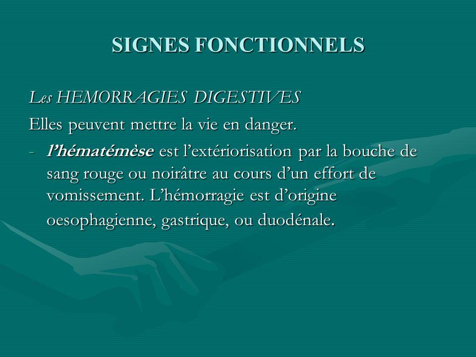 SIGNES FONCTIONNELS Les HEMORRAGIES DIGESTIVES Elles peuvent mettre la vie en danger. -lhématémèse est lextériorisation par la bouche de sang rouge ou