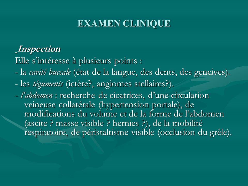 EXAMEN CLINIQUE Inspection Inspection Elle sintéresse à plusieurs points : - la cavité buccale (état de la langue, des dents, des gencives). - les tég