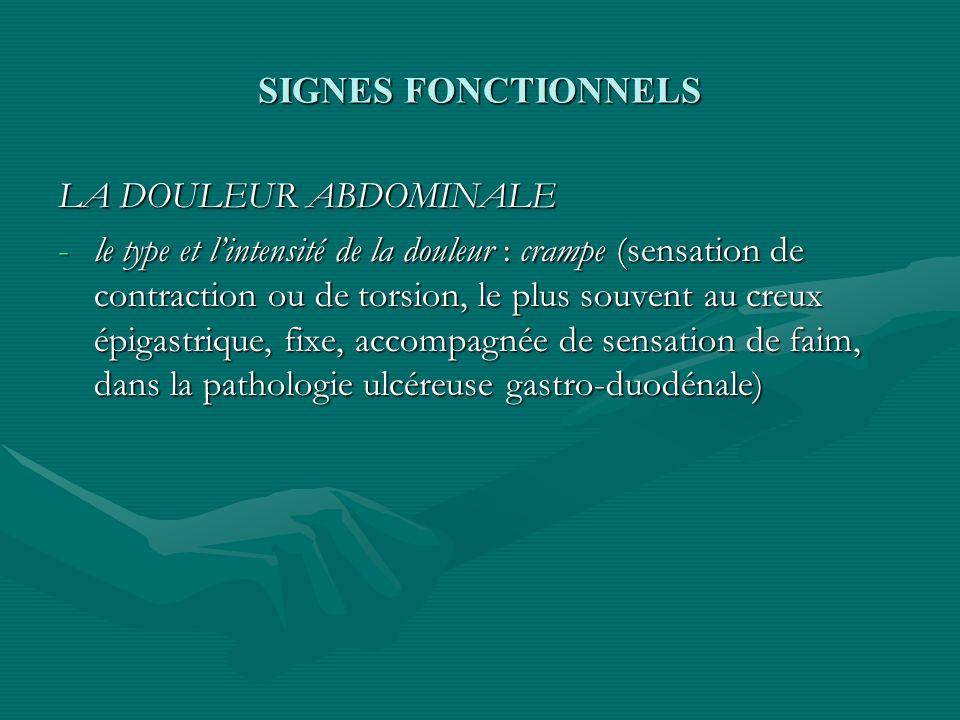 SIGNES FONCTIONNELS -colique (douleur à type de torsion, mobile, avec une intensité fluctuante,croissante puis décroissante, pause, puis répétition, témoignant dun spasme sur lintestin grêle,le colon ou les voies biliaires -colique hépatique