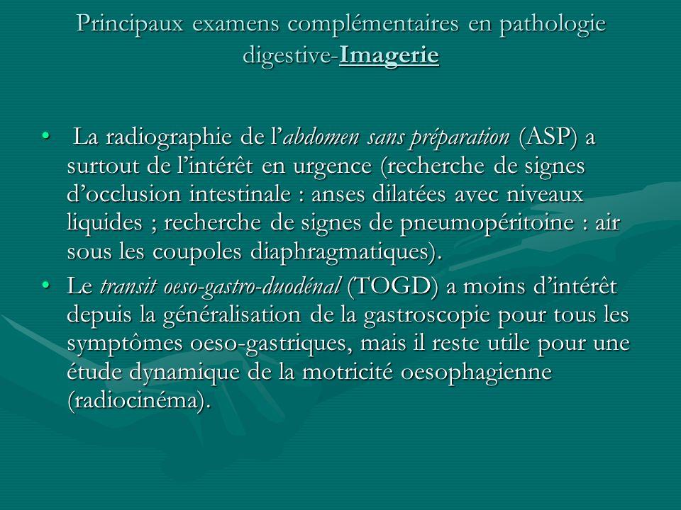 Principaux examens complémentaires en pathologie digestive-Imagerie La radiographie de labdomen sans préparation (ASP) a surtout de lintérêt en urgenc