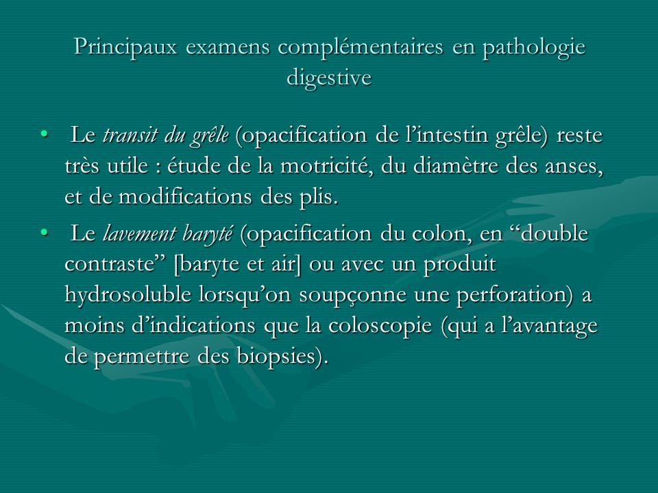 Principaux examens complémentaires en pathologie digestive Le transit du grêle (opacification de lintestin grêle) reste très utile : étude de la motri