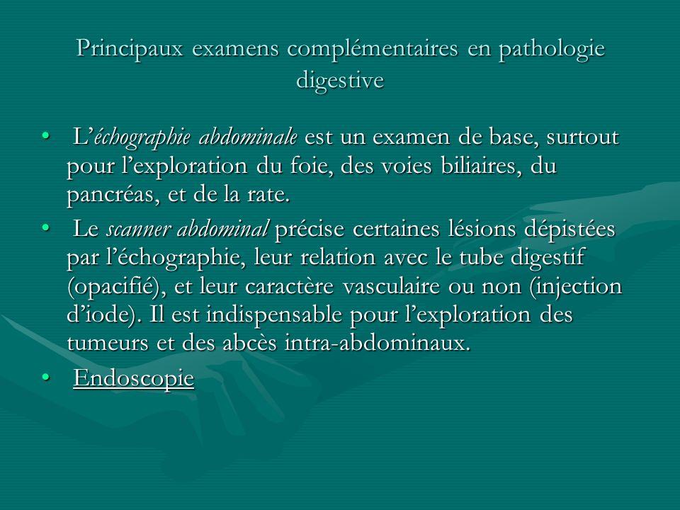 Principaux examens complémentaires en pathologie digestive Léchographie abdominale est un examen de base, surtout pour lexploration du foie, des voies