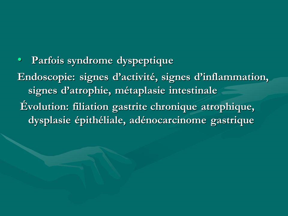 Parfois syndrome dyspeptique Parfois syndrome dyspeptique Endoscopie: signes dactivité, signes dinflammation, signes datrophie, métaplasie intestinale