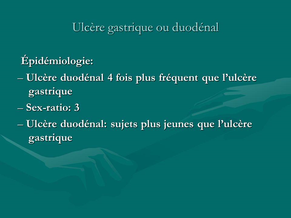 Ulcère gastrique ou duodénal Épidémiologie: Épidémiologie: – Ulcère duodénal 4 fois plus fréquent que lulcère gastrique – Sex-ratio: 3 – Ulcère duodén