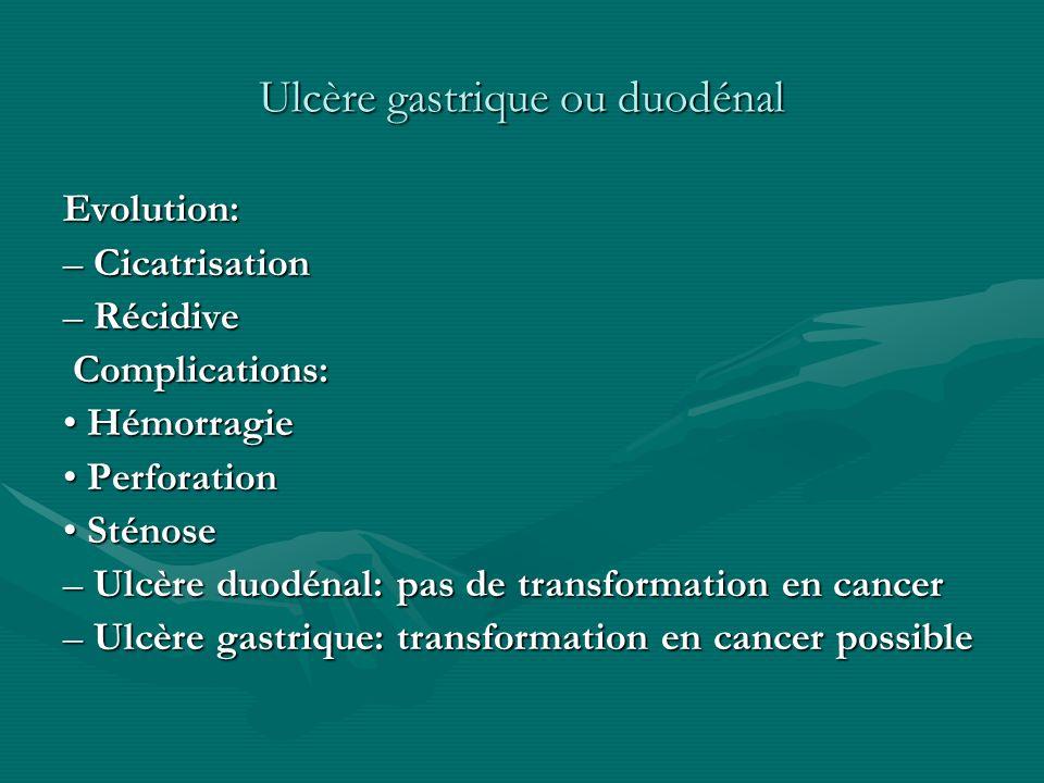 Ulcère gastrique ou duodénal Evolution: – Cicatrisation – Récidive Complications: Complications: Hémorragie Hémorragie Perforation Perforation Sténose