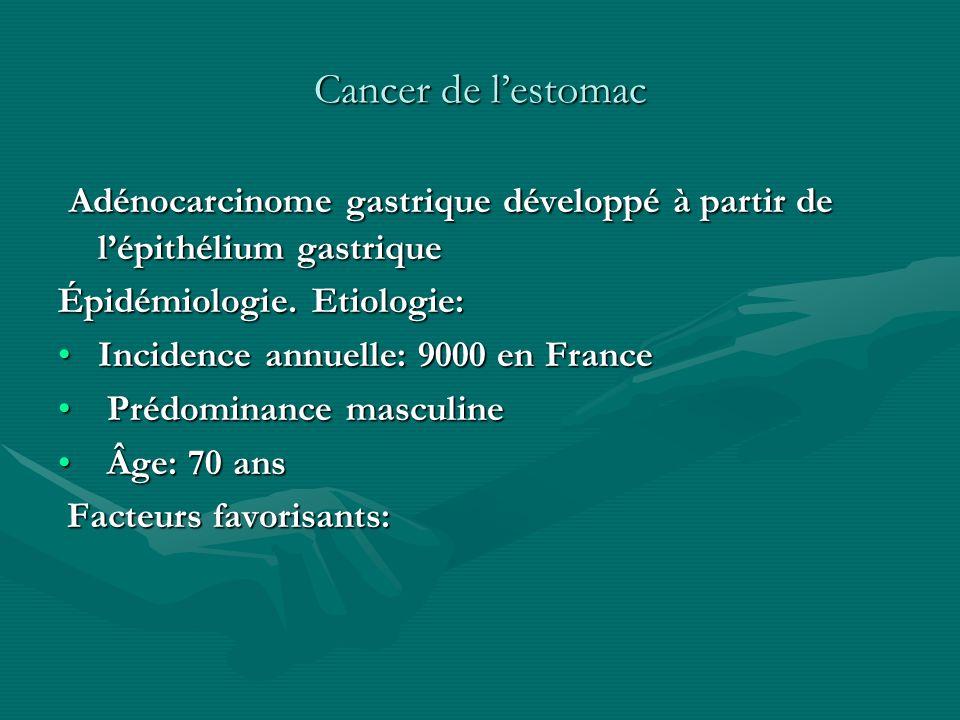 Cancer de lestomac Adénocarcinome gastrique développé à partir de lépithélium gastrique Adénocarcinome gastrique développé à partir de lépithélium gas