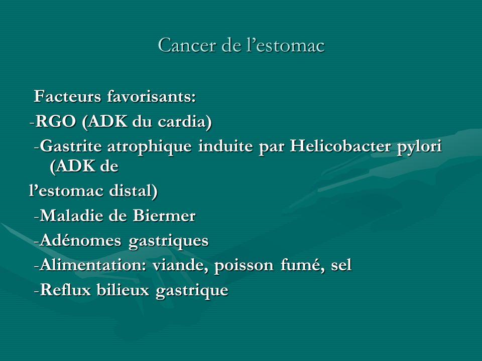 Cancer de lestomac Facteurs favorisants: Facteurs favorisants: -RGO (ADK du cardia) -Gastrite atrophique induite par Helicobacter pylori (ADK de -Gast