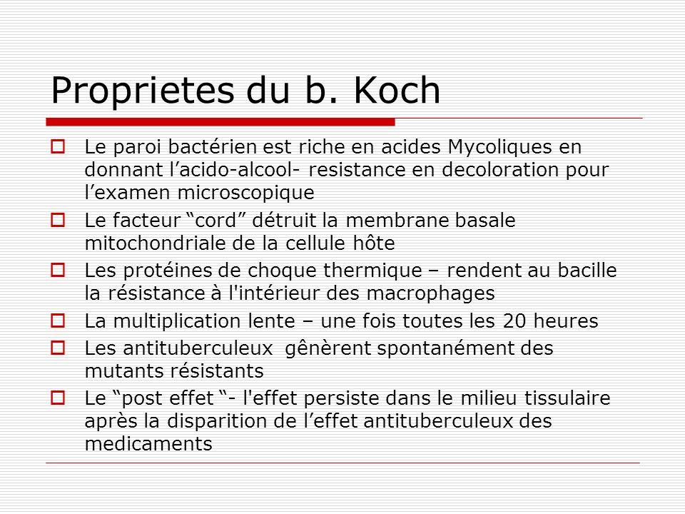 Proprietes du b. Koch Le paroi bactérien est riche en acides Mycoliques en donnant lacido-alcool- resistance en decoloration pour lexamen microscopiqu