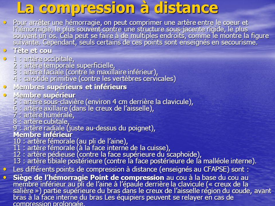 La compression à distance Pour arrêter une hémorragie, on peut comprimer une artère entre le coeur et lhémorragie, le plus souvent contre une structure sous-jacente rigide, le plus souvent un os.