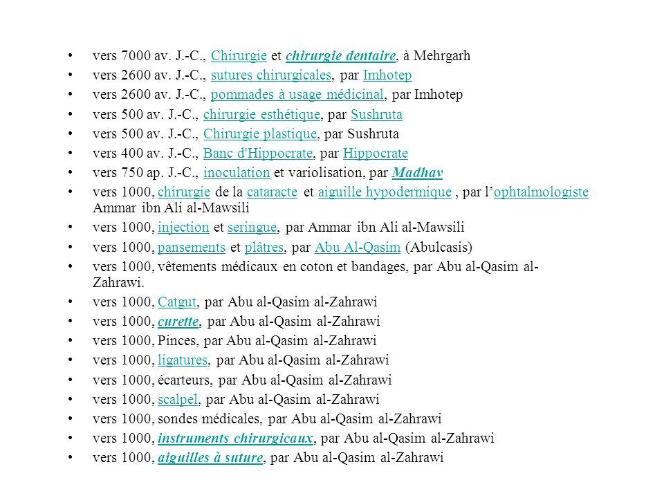 vers 7000 av. J.-C., Chirurgie et chirurgie dentaire, à MehrgarhChirurgiechirurgie dentaire vers 2600 av. J.-C., sutures chirurgicales, par Imhotepsut