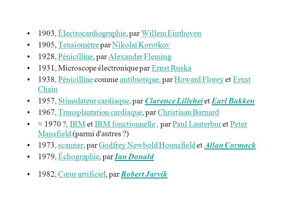 1903, Électrocardiographie, par Willem EinthovenÉlectrocardiographieWillem Einthoven 1905, Tensiomètre par Nikolaï KorotkovTensiomètreNikolaï Korotkov