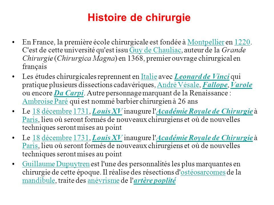 Histoire de chirurgie En France, la première école chirurgicale est fondée à Montpellier en 1220. C'est de cette université qu'est issu Guy de Chaulia