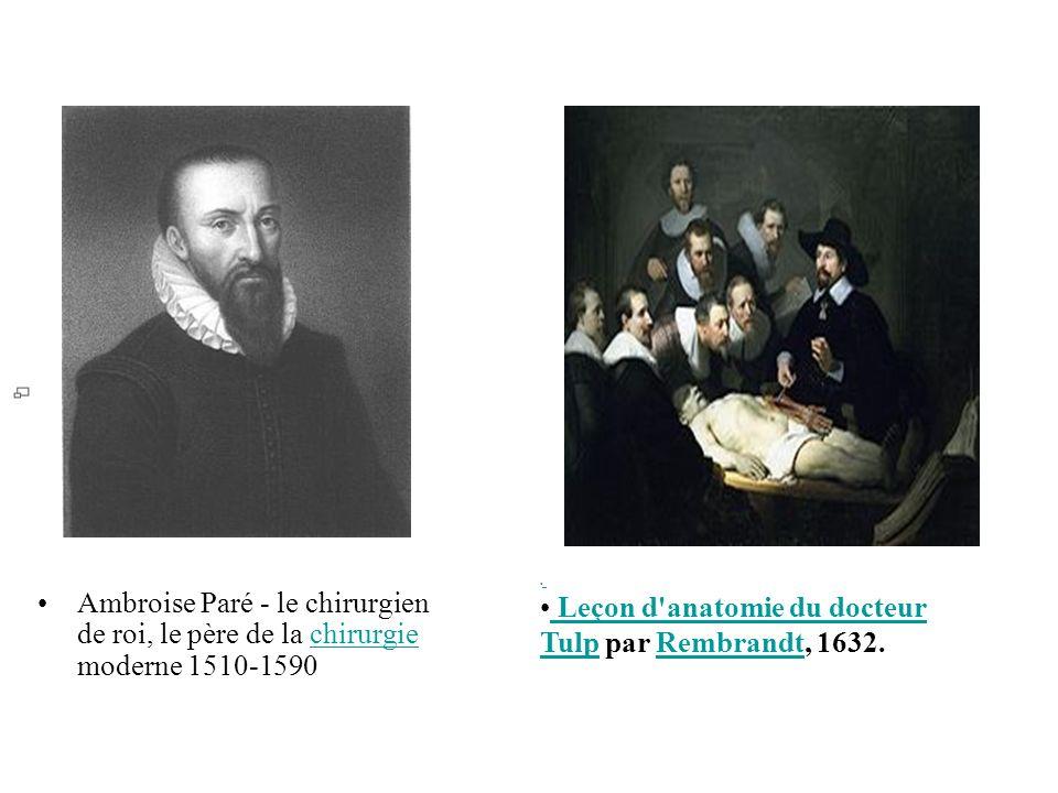 Ambroise Paré - le chirurgien de roi, le père de la chirurgie moderne 1510-1590chirurgie Leçon d'anatomie du docteur Tulp par Rembrandt, 1632. Leçon d