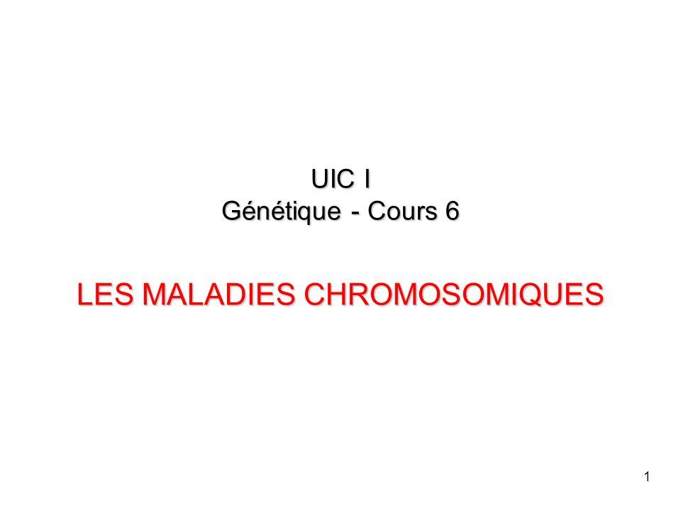 1 UIC I Génétique - Cours 6 LES MALADIES CHROMOSOMIQUES
