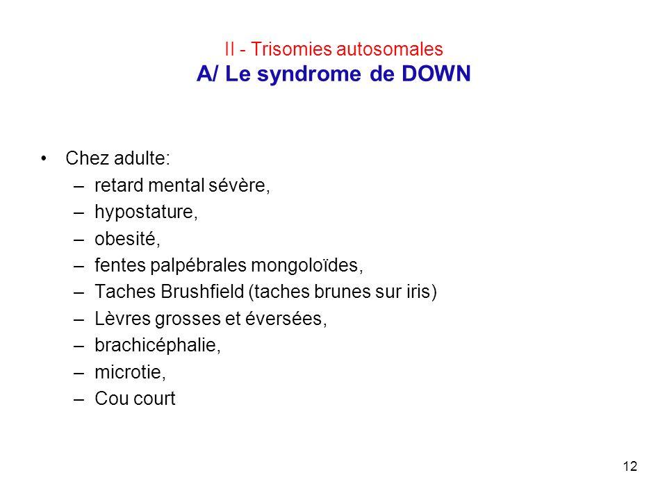 12 II - Trisomies autosomales A/ Le syndrome de DOWN Chez adulte: –retard mental sévère, –hypostature, –obesité, –fentes palpébrales mongoloïdes, –Tac