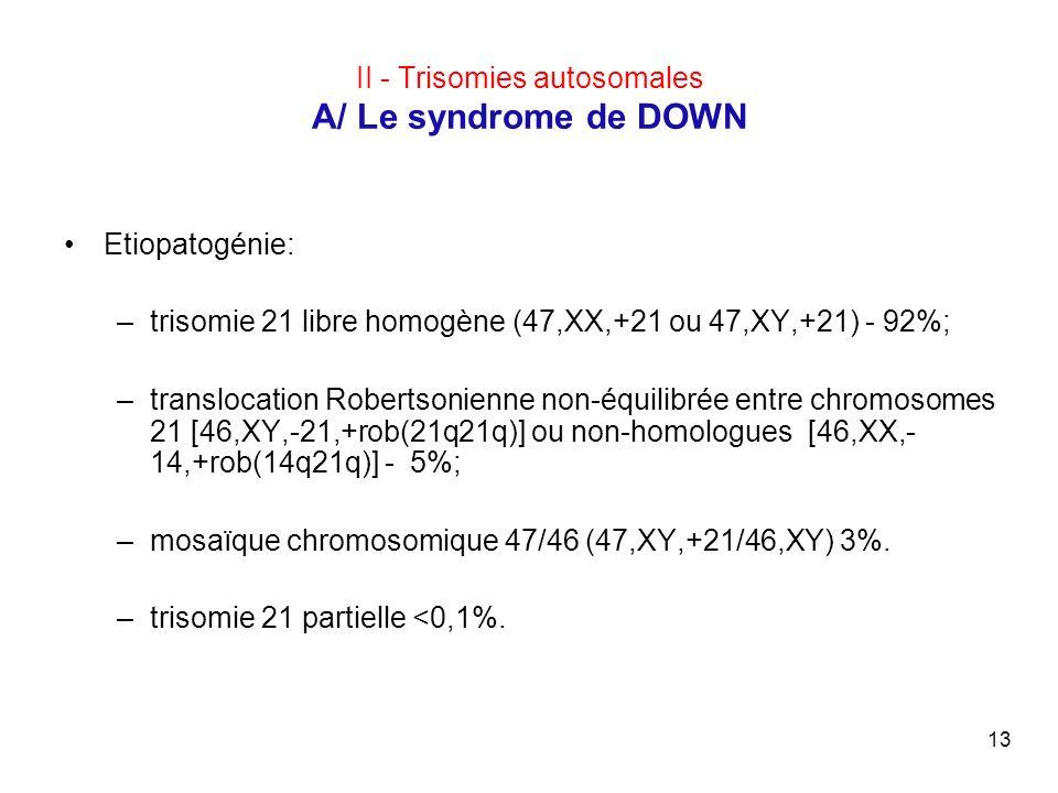 13 II - Trisomies autosomales A/ Le syndrome de DOWN Etiopatogénie: –trisomie 21 libre homogène (47,XX,+21 ou 47,XY,+21) - 92%; –translocation Roberts