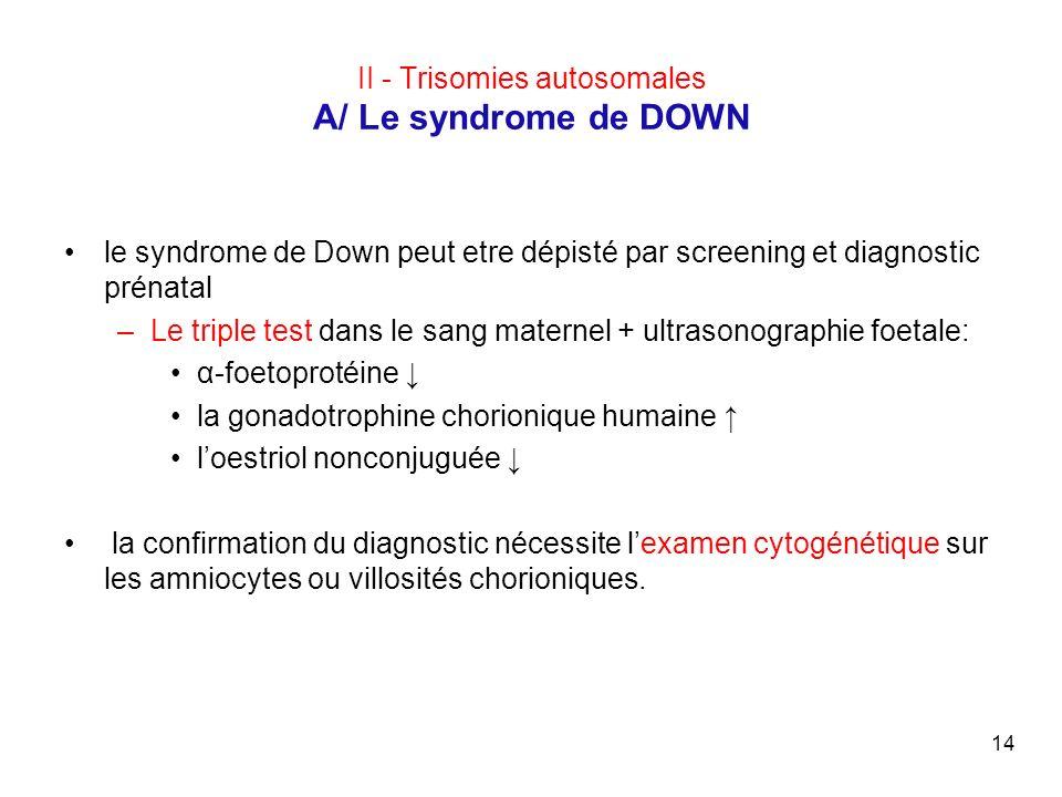 14 II - Trisomies autosomales A/ Le syndrome de DOWN le syndrome de Down peut etre dépisté par screening et diagnostic prénatal –Le triple test dans l