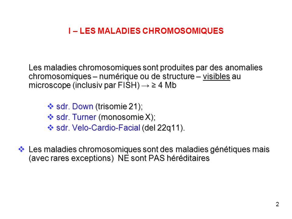 2 I – LES MALADIES CHROMOSOMIQUES Les maladies chromosomiques sont produites par des anomalies chromosomiques – numérique ou de structure – visibles a