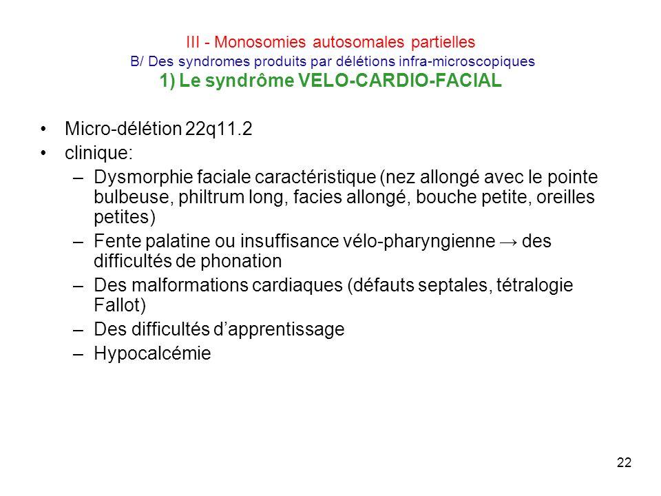 22 III - Monosomies autosomales partielles B/ Des syndromes produits par délétions infra-microscopiques 1) Le syndrôme VELO-CARDIO-FACIAL Micro-déléti