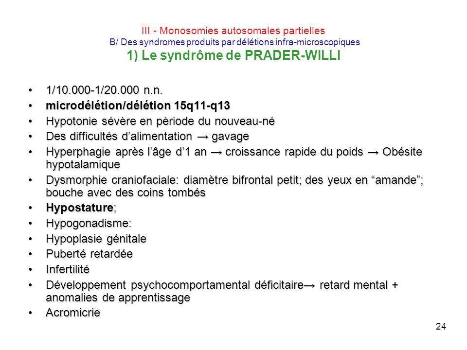 24 III - Monosomies autosomales partielles B/ Des syndromes produits par délétions infra-microscopiques 1) Le syndrôme de PRADER-WILLI 1/10.000-1/20.0