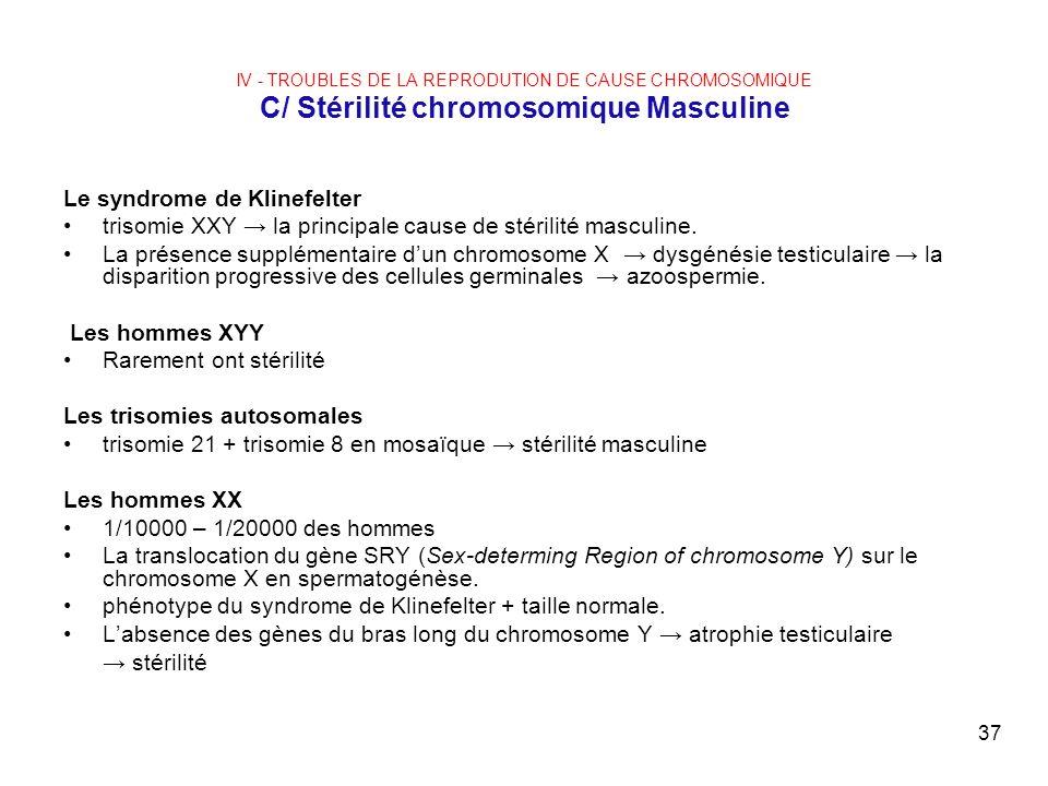 37 IV - TROUBLES DE LA REPRODUTION DE CAUSE CHROMOSOMIQUE C/ Stérilité chromosomique Masculine Le syndrome de Klinefelter trisomie XXY la principale c