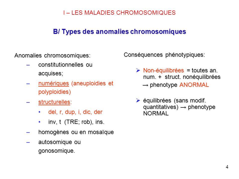 4 B/ Types des anomalies chromosomiques I – LES MALADIES CHROMOSOMIQUES B/ Types des anomalies chromosomiques Anomalies chromosomiques: –constitutionn
