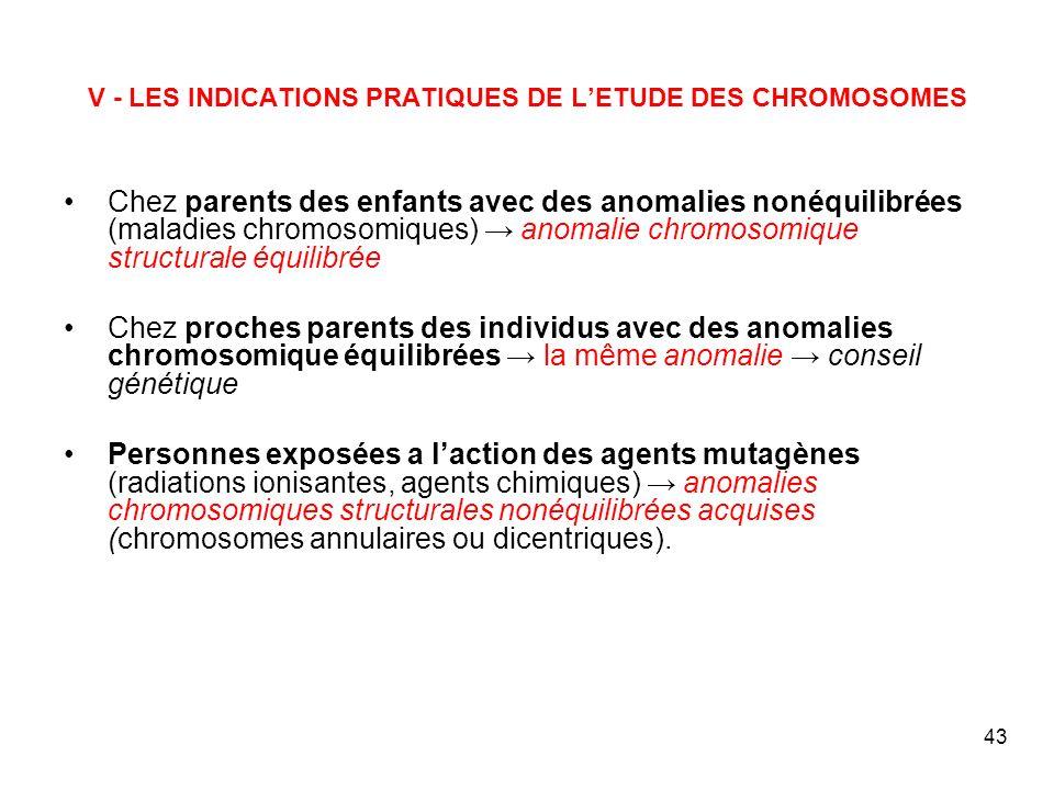 43 V - LES INDICATIONS PRATIQUES DE LETUDE DES CHROMOSOMES Chez parents des enfants avec des anomalies nonéquilibrées (maladies chromosomiques) anomal