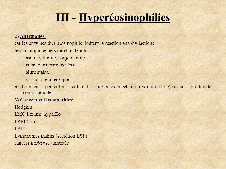 2) Allergiques: car les enzymes du P.Eosinophile limitent la réaction anaphyllactique terrain atopique personnel ou familial: asthme, rhinite, conjonc