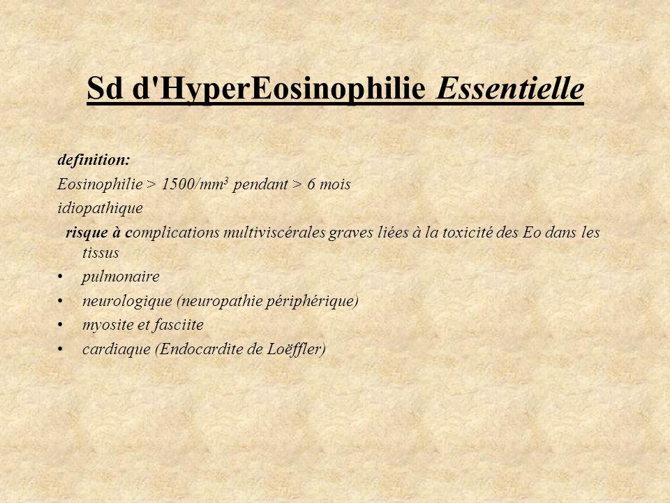 Sd d'HyperEosinophilie Essentielle definition: Eosinophilie > 1500/mm 3 pendant > 6 mois idiopathique risque à complications multiviscérales graves li