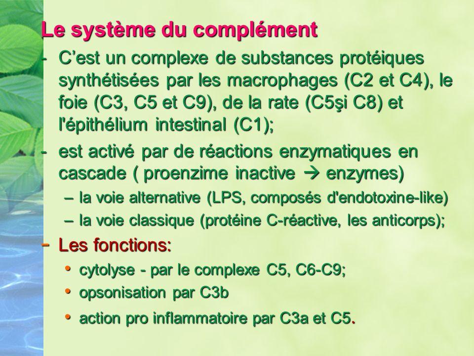 Le système du complément -Cest un complexe de substances protéiques synthétisées par les macrophages (C2 et C4), le foie (C3, C5 et C9), de la rate (C
