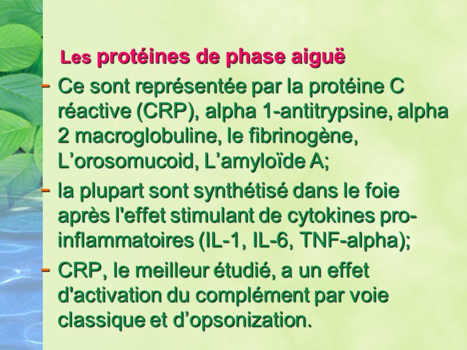 Les protéines de phase aiguë Les protéines de phase aiguë - Ce sont représentée par la protéine C réactive (CRP), alpha 1-antitrypsine, alpha 2 macrog