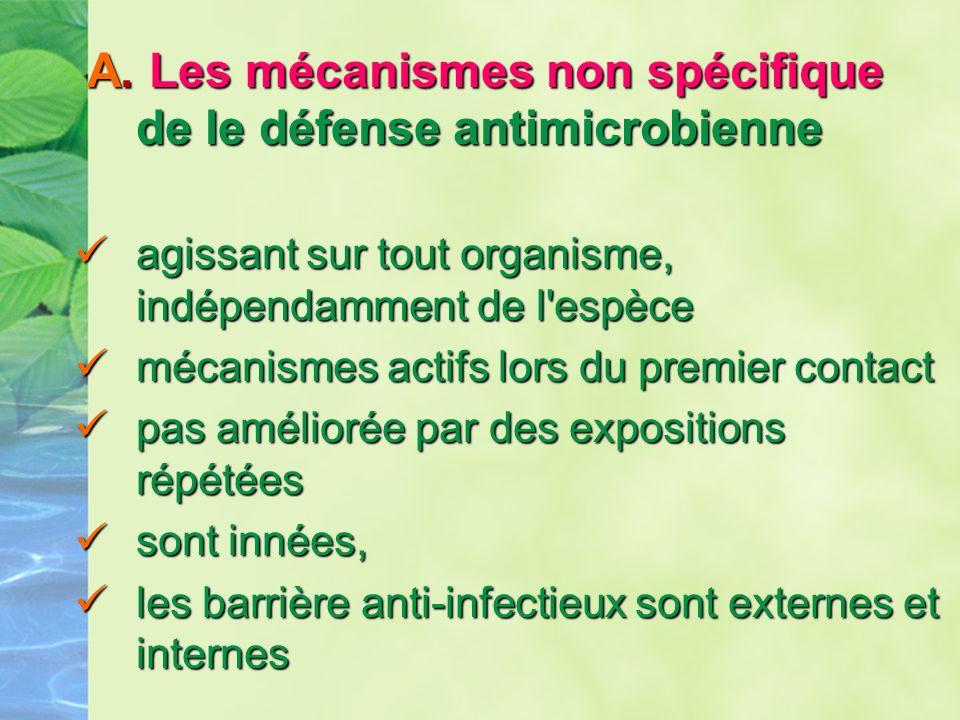 A. Les mécanismes non spécifique de le défense antimicrobienne A. Les mécanismes non spécifique de le défense antimicrobienne agissant sur tout organi