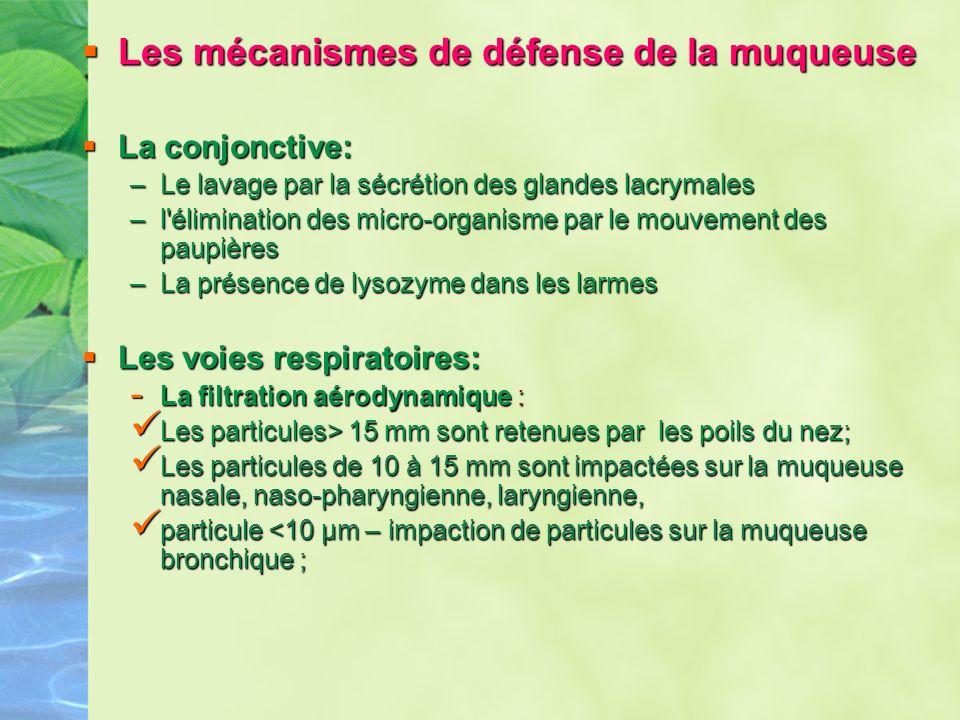 Les mécanismes de défense de la muqueuse Les mécanismes de défense de la muqueuse La conjonctive: La conjonctive: –Le lavage par la sécrétion des glan