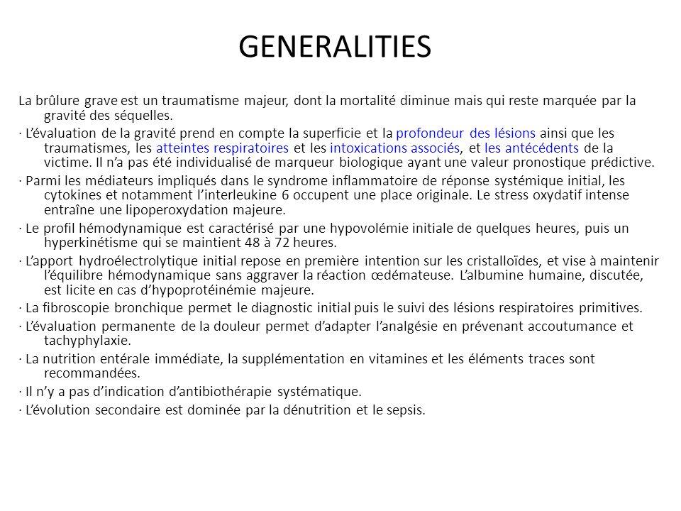 Épidémiologie 1/Incidence et gravité Incidence en France : - 150 000 nouveaux cas par ans nécessitent des soins - 7500 cas nécessitent une hospitalisation - 3000 cas sont hospitalisés en centre des brûlés Gravité - Facteur de gravité : l âge, l étendue, la profondeur et la localisation de la brûlure - 0,2% de la mortalité totale annuelle en France - 10% des morts accidentelles (accident = ignorance,