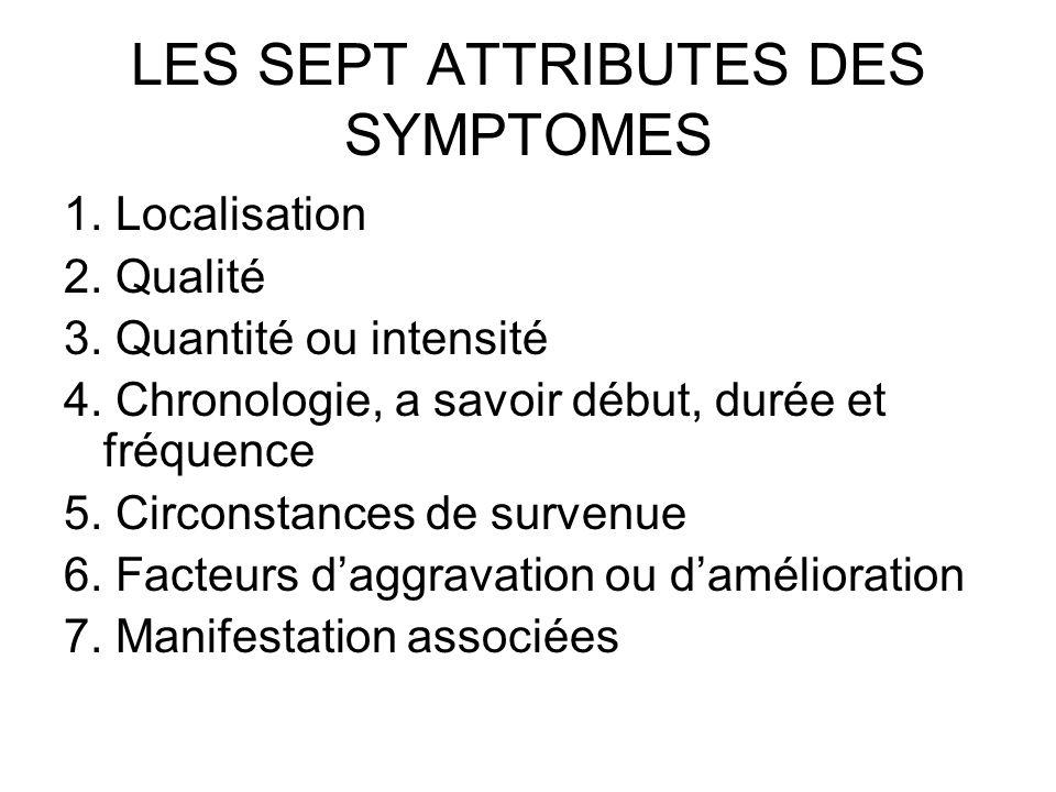 LES SEPT ATTRIBUTES DES SYMPTOMES 1. Localisation 2. Qualité 3. Quantité ou intensité 4. Chronologie, a savoir début, durée et fréquence 5. Circonstan