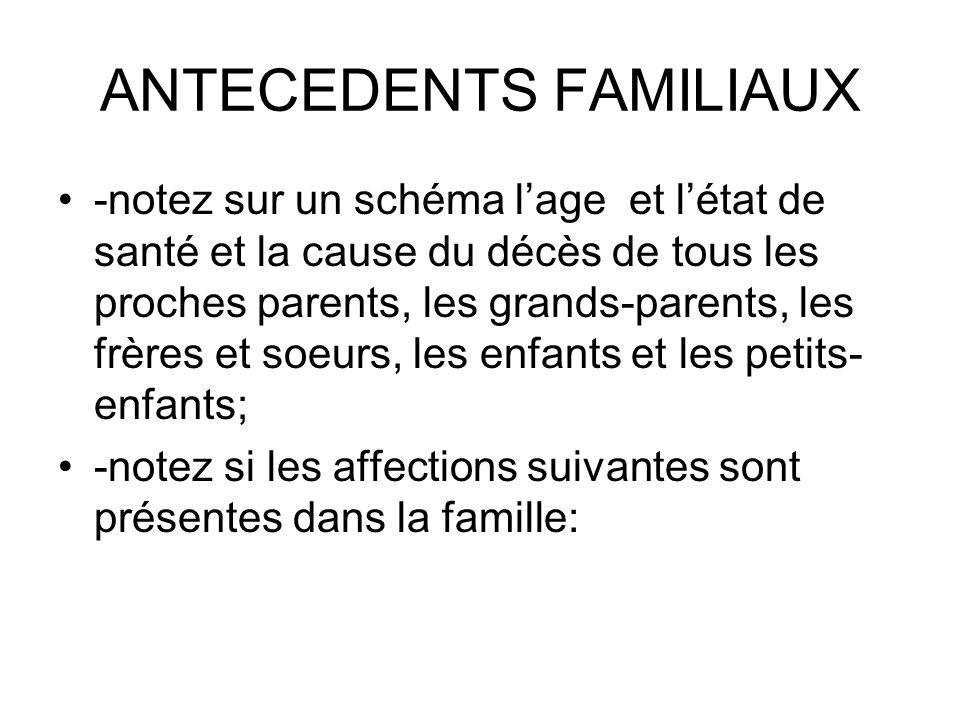 ANTECEDENTS FAMILIAUX -notez sur un schéma lage et létat de santé et la cause du décès de tous les proches parents, les grands-parents, les frères et