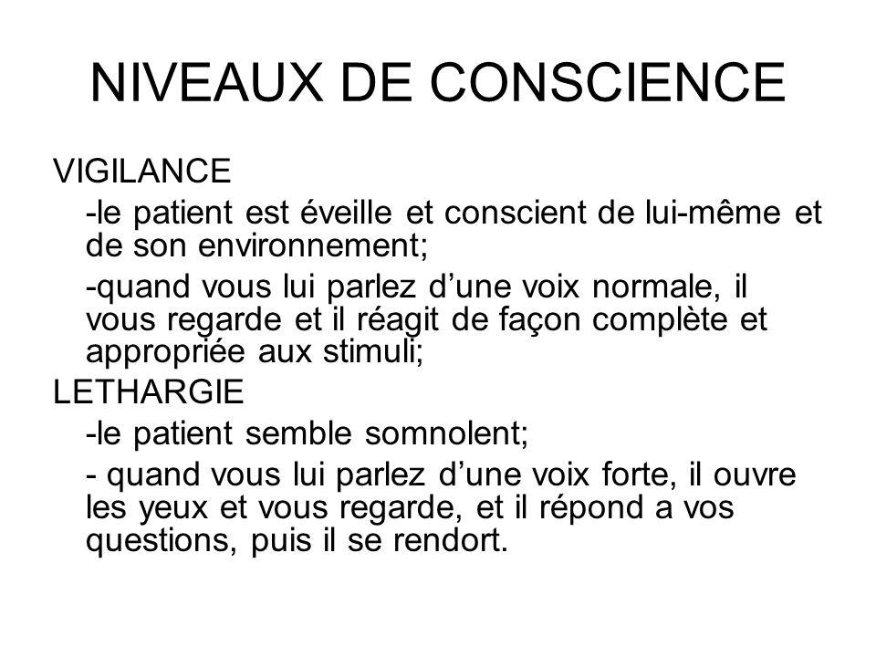 NIVEAUX DE CONSCIENCE VIGILANCE -le patient est éveille et conscient de lui-même et de son environnement; -quand vous lui parlez dune voix normale, il