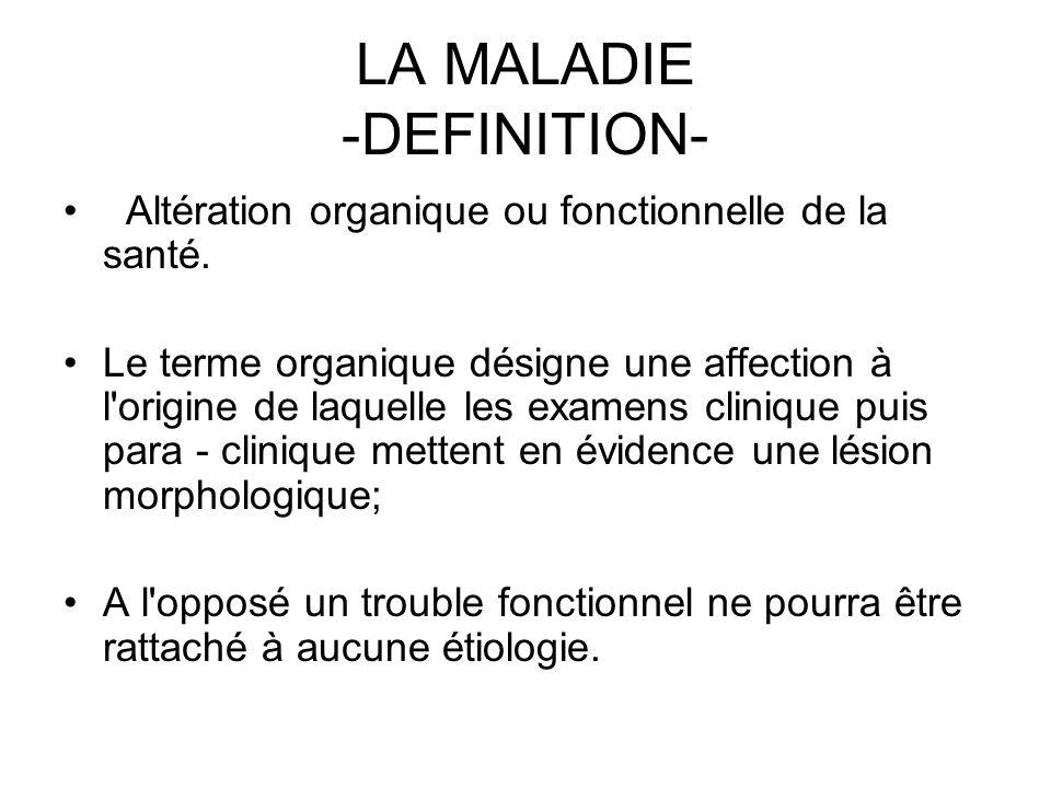 LA MALADIE -DEFINITION- Altération organique ou fonctionnelle de la santé. Le terme organique désigne une affection à l'origine de laquelle les examen