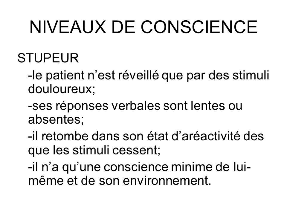 NIVEAUX DE CONSCIENCE STUPEUR -le patient nest réveillé que par des stimuli douloureux; -ses réponses verbales sont lentes ou absentes; -il retombe da