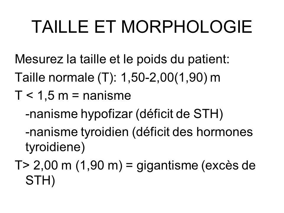 TAILLE ET MORPHOLOGIE Mesurez la taille et le poids du patient: Taille normale (T): 1,50-2,00(1,90) m T < 1,5 m = nanisme -nanisme hypofizar (déficit