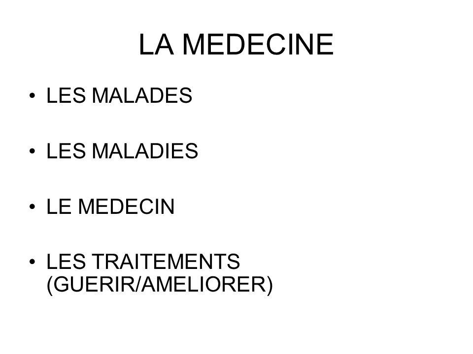 LA MEDECINE LES MALADES LES MALADIES LE MEDECIN LES TRAITEMENTS (GUERIR/AMELIORER)