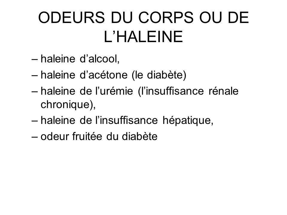 ODEURS DU CORPS OU DE LHALEINE –haleine dalcool, –haleine dacétone (le diabète) –haleine de lurémie (linsuffisance rénale chronique), –haleine de lins