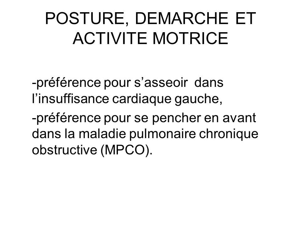 POSTURE, DEMARCHE ET ACTIVITE MOTRICE -préférence pour sasseoir dans linsuffisance cardiaque gauche, -préférence pour se pencher en avant dans la mala