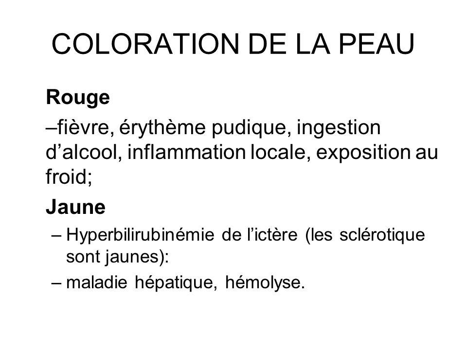 COLORATION DE LA PEAU Rouge –fièvre, érythème pudique, ingestion dalcool, inflammation locale, exposition au froid; Jaune –Hyperbilirubinémie de lictè
