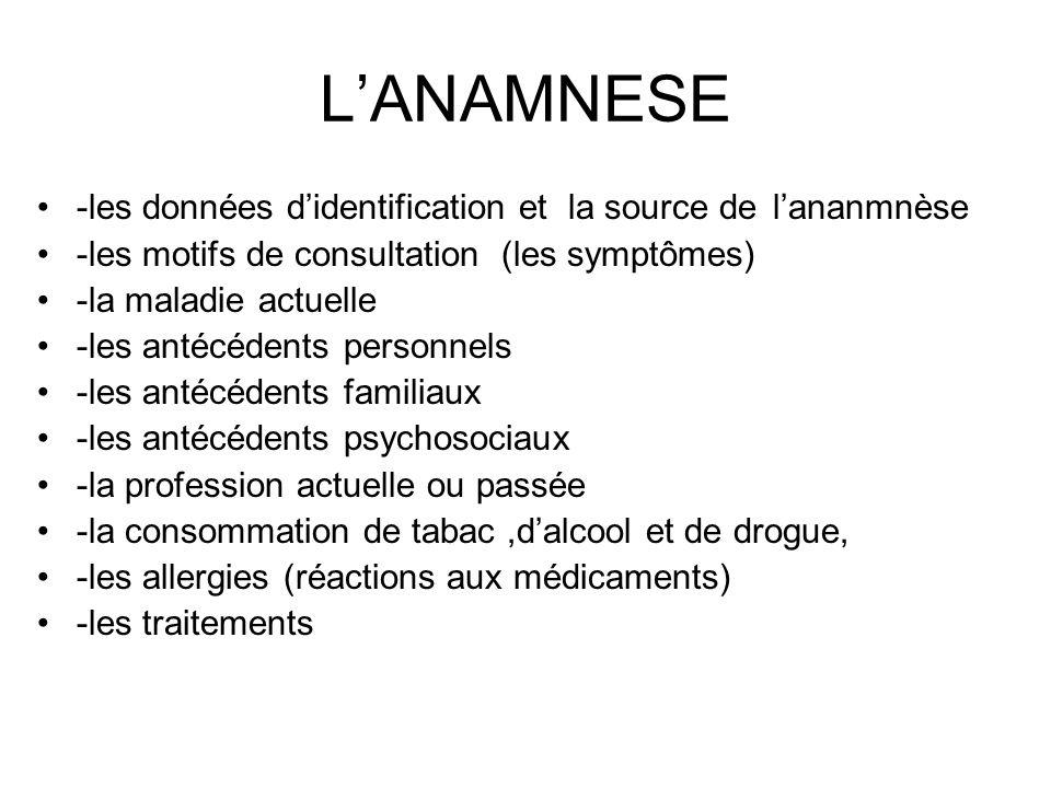LANAMNESE -les données didentification et la source de lananmnèse -les motifs de consultation (les symptômes) -la maladie actuelle -les antécédents pe