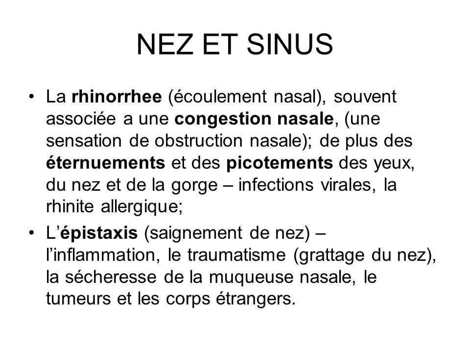 NEZ ET SINUS La rhinorrhee (écoulement nasal), souvent associée a une congestion nasale, (une sensation de obstruction nasale); de plus des éternuemen