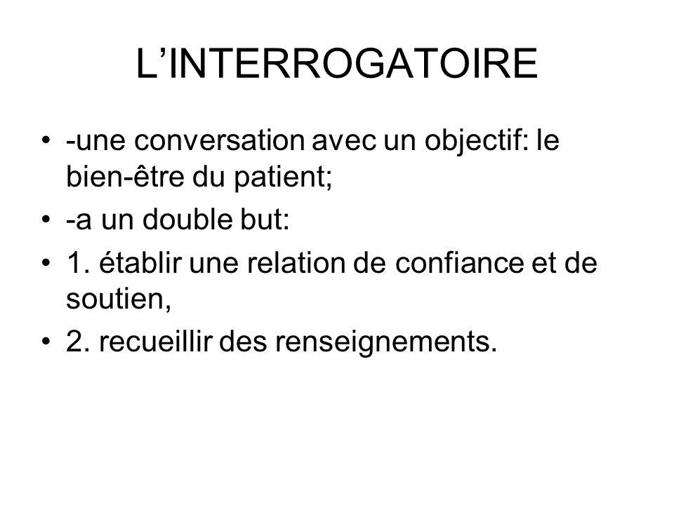 LINTERROGATOIRE -une conversation avec un objectif: le bien-être du patient; -a un double but: 1. établir une relation de confiance et de soutien, 2.