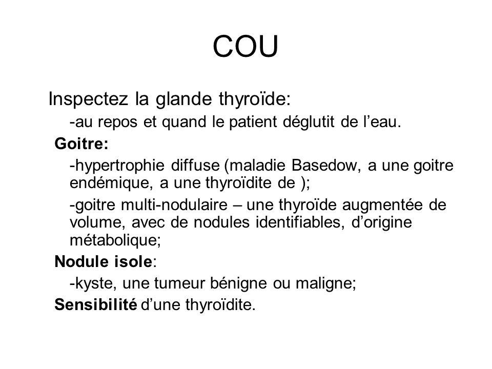 COU Inspectez la glande thyroïde: -au repos et quand le patient déglutit de leau. Goitre: -hypertrophie diffuse (maladie Basedow, a une goitre endémiq