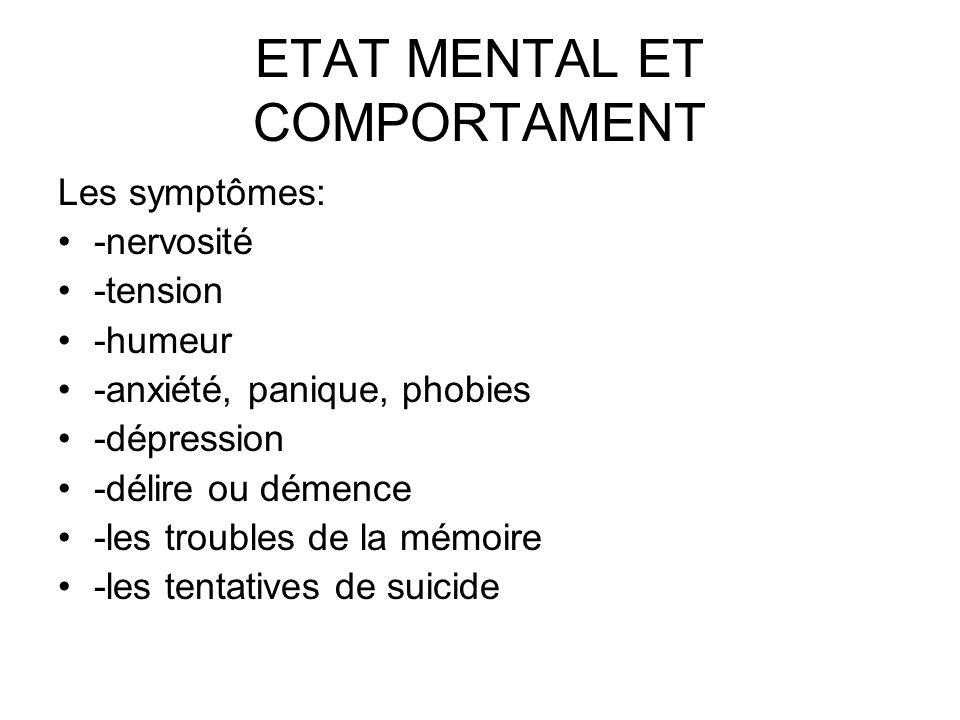 ETAT MENTAL ET COMPORTAMENT Les symptômes: -nervosité -tension -humeur -anxiété, panique, phobies -dépression -délire ou démence -les troubles de la m